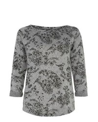 New Look Grey Bird Floral Print 34 Sleeve Top