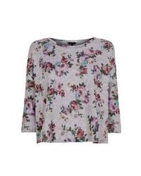 New Look Grey Floral Print Boxy Crop Top