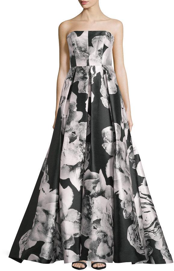 fe0a1dae076 ... Monique Lhuillier Ml Floral Print Strapless Gown Noire ...