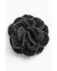 hook + ALBERT Velvet Flower Lapel Pin Grey
