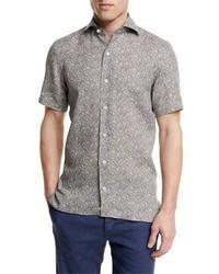 Ermenegildo Zegna Floral Print Short Sleeve Linen Shirt Oatmeal
