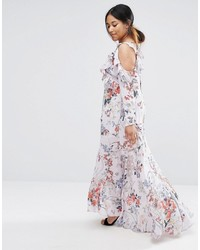 1b0468d2612 ... Asos Curve Curve Cold Shoulder Long Sleeve Ruffle Maxi Dress In Gray  Floral