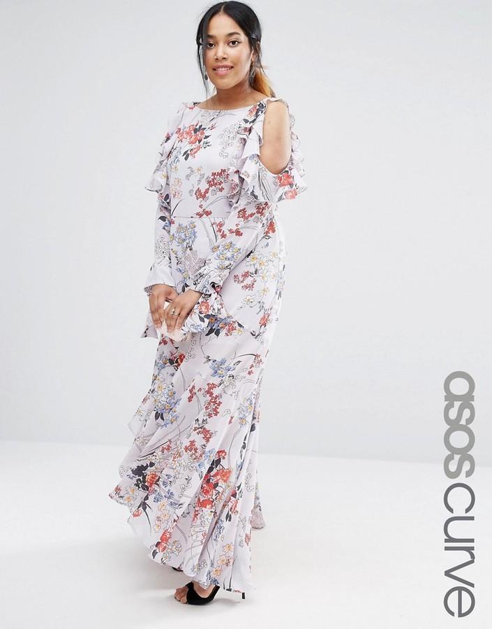 b089e0a08e0 ... Asos Curve Curve Cold Shoulder Long Sleeve Ruffle Maxi Dress In Gray  Floral ...