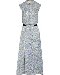 Band Of Outsiders Printed Swiss Dot Silk Midi Dress