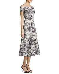 Theia Floral Printed Off The Shoulder Tea Dress