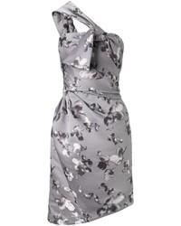 Grey satin wrap asymmetric dress medium 94522