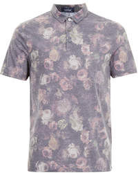 Topman Black Floral Polo Shirt