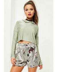 Missguided Petite Grey Satin Floral Print Shorts