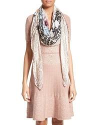 Floral cheetah modal cashmere scarf medium 3694725