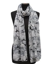 Grey ikat rose printed scarf medium 447074