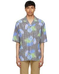 Kenzo Black Blue Viscose Check Short Sleeve Shirt