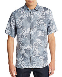 Floral print short sleeve linen sportshirt medium 273509