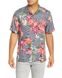 Tommy Bahama Poinsettia Holiday Short Sleeve Silk Button Up Camp Shirt