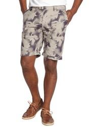 Slate & Stone Grey Floral Shadow Print Flat Front Sydney Shorts