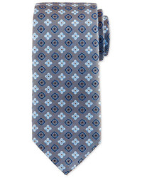 Floral square foulard silk tie steel blue medium 791512