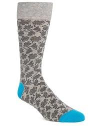 Grey Floral Socks