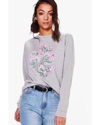Boohoo Tall Freya Floral Front Sweatshirt