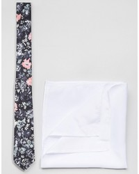 Asos Brand Floral Tie And Plain Pocket Square Pack Save 17%