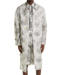 Fendi Hortensia Floral Silk Trench Coat