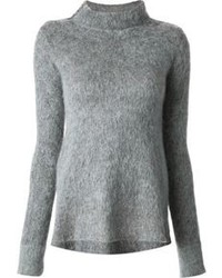 Grey Fluffy Crew-neck Sweater