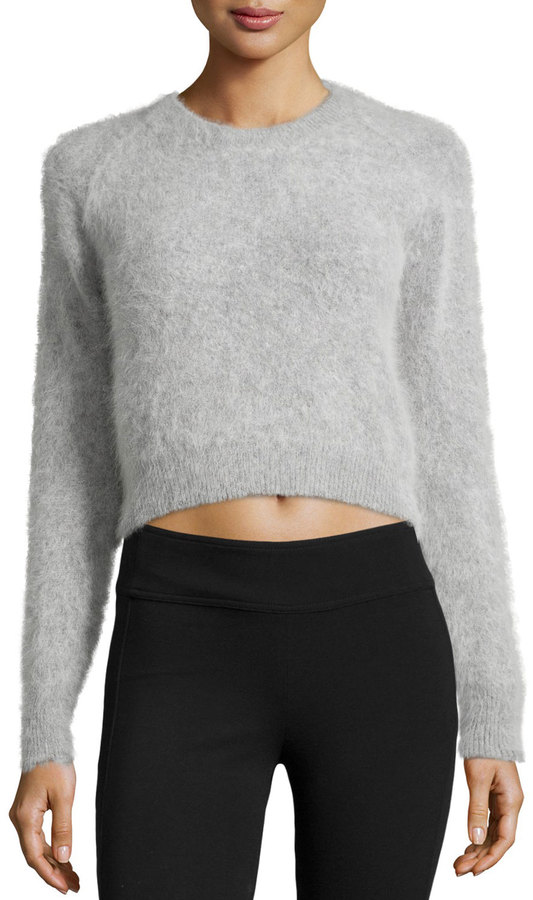 Line Angora Blend Cropped Sweater Gray | Where to buy & how to wear