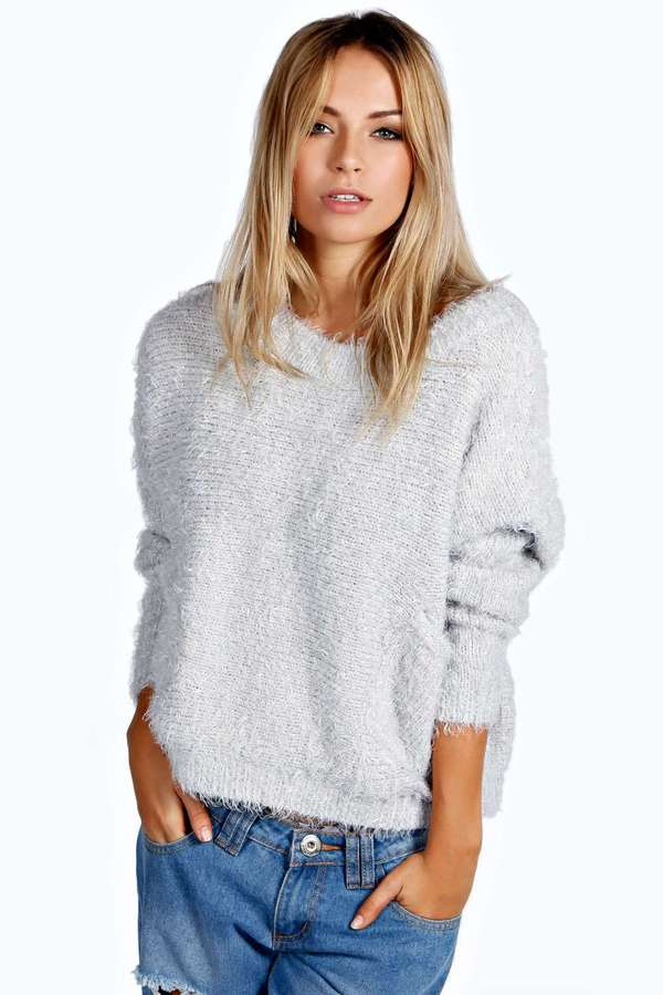 Boohoo Patty Scoop Neck Fluffy Oversized Jumper | Where to buy ...