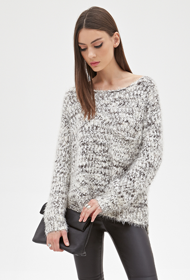... Forever 21 Fuzzy Marled Knit Sweater ...