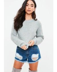 Gray fluffy knit sweater medium 6842576