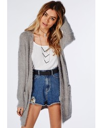 Missguided Ceris Knitted Fluffy Cardigan Grey