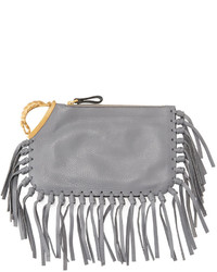 Valentino Zodiac Fringe Leather Clutch Bag Gray Scorpio