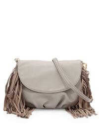 Grey Fringe Leather Crossbody Bag