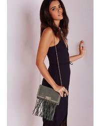 Missguided Studded Fringed Shoulder Bag Grey