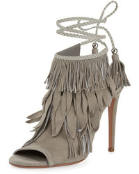 Fringe suede 105mm sandal light gray medium 729016