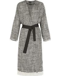 Isabel Marant Iban Fringed Wool Blend Tweed Coat Gray
