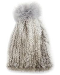 La Fiorentina Mink Fox Fur Pompom Beanie Hat Gray