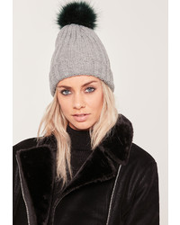 Missguided Grey Contrast Faux Fur Pom Pom Beanie