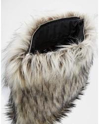 Asos Collection Faux Fur Zip Top Clutch Bag