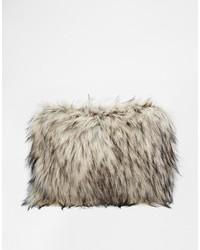 Collection faux fur zip top clutch bag medium 166144