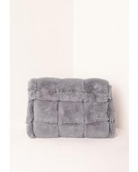 Missguided Grey Faux Fur Roll Top Clutch Bag