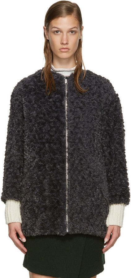 9cb88956e1 ... Etoile Isabel Marant Isabel Marant Etoile Grey Faux Fur Easy Abril Coat  ...