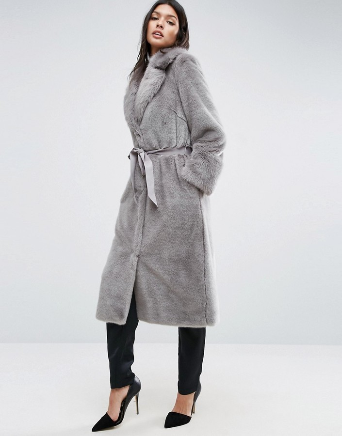 496b6722a6568 ... Asos Faux Fur Coat With Oversized Collar And Belt ...
