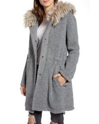 Girls in the hood faux ribbed coat medium 8652372