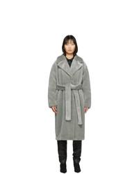 Tibi Grey Faux Fur Oversized Luxe Coat