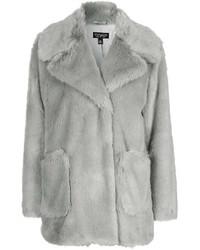Patch Pocket Luxe Faux Fur Coat