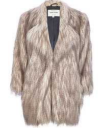 River Island Silver Long Pile Faux Fur Coat