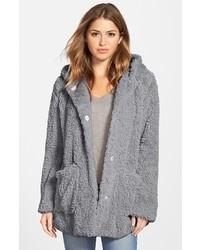 Kenneth Cole New York Teddy Bear Faux Fur Hooded Coat