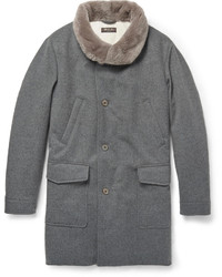Loro Piana Beaver Collar Wool And Cashmere Blend Quilted Coat