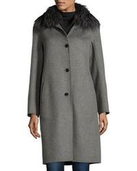 Neiman Marcus Cashmere Collection Cashmere Coat With Detachable Fur Collar