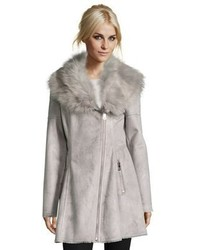 Catherine Malandrino Catherine Luxurious Faux Shearling Fit Flare Asymmetrical Zip Coat With Oversized Faux Fur Collar