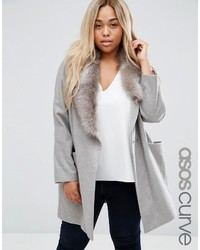 Asos Curve Curve Coat With Asymmetric Detachable Fur Collar
